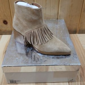 Matiko Fringe Leather Booties 36